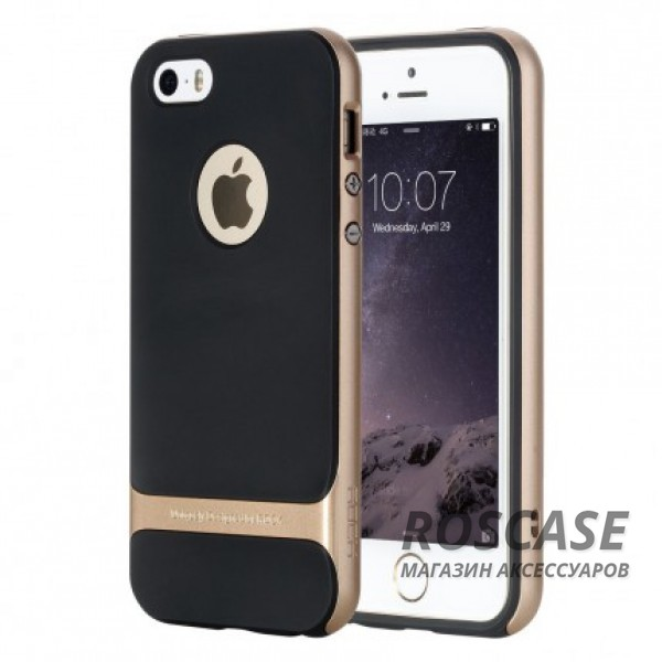 Фото Черный / Champagne Gold TPU+PC чехол Rock Royce Cross Series для Apple iPhone 5/5S/SE