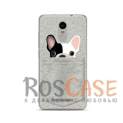 TPU чехол Sweet Art Animals для Xiaomi Redmi Note 4 (Бульдог в кармане)<br><br>Тип: Чехол<br>Бренд: Epik<br>Материал: TPU