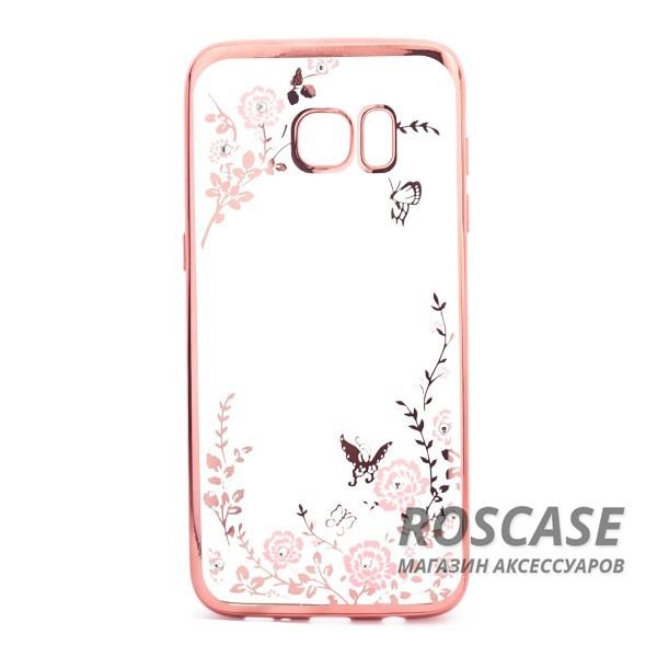 Прозрачный чехол с цветами и стразами для Samsung G935F Galaxy S7 Edge с глянцевым бампером (Розовый золотой/Розовые цветы)Описание:совместим с Samsung G935F Galaxy S7 Edge;материал - термополиуретан;тип - накладка.&amp;nbsp;Особенности:прозрачный;изящный рисунок;украшен стразами;защищает от царапин и ударов;не скользит в руках.<br><br>Тип: Чехол<br>Бренд: Epik<br>Материал: TPU