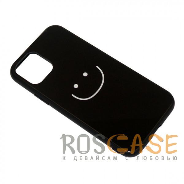 Фотография Смайлик черный Силиконовый чехол со стеклянной вставкой для Apple iPhone 11 Pro Max