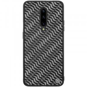 Nillkin Twinkle Silvery | Чехол с текстурной тканевой вставкой для OnePlus 7 Pro