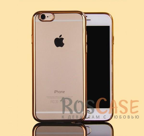 Прозрачный силиконовый чехол для Apple iPhone 7 (4.7) с глянцевой окантовкой (Золотой)Описание:материал - силикон;совместим с Apple iPhone 7 (4.7);тип - накладка.Особенности:прозрачный;глянцевая окантовка;все вырезы предусмотрены;защищает от царапин и потертостей;тонкий дизайн;плотно облегает корпус.<br><br>Тип: Чехол<br>Бренд: Epik<br>Материал: TPU