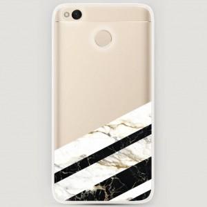 RosCase | Силиконовый чехол Черно-белый мрамор половинка на Xiaomi Redmi 4X