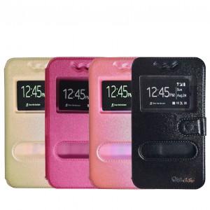 Универсальный чехол-книжка для смартфона 5.5-6.0 дюйма с окошком и магнитной застежкой для