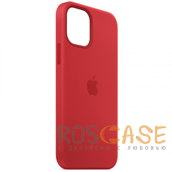 Фотография Красный Силиконовый чехол Silicone Case с микрофиброй для iPhone 12 Mini