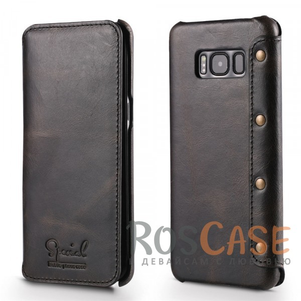 Премиальный матовый чехол-книжка из натуральной кожи с металлическими заклепками и внутренним карманом для Samsung G950 Galaxy S8 (Черный)Описание:чехол разработан для&amp;nbsp;Samsung G950 Galaxy S8;материал - натуральная кожа;формат - чехол-книжка;внутренний отсек для пластиковых карт и денежных купюр;отделка с заклепками;прошитый дизайн;матовая поверхность.<br><br>Тип: Чехол<br>Бренд: Epik<br>Материал: Натуральная кожа
