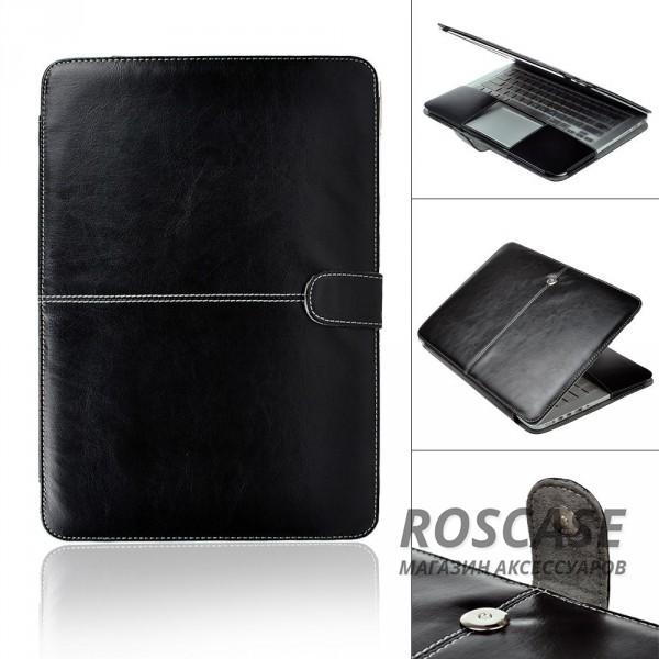 Фото Черный Кожаный чехол-книжка TTX для Apple MacBook 12