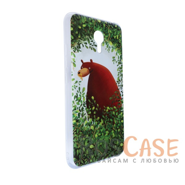 """Фото Тонкий силиконовый чехол """"Медведь в кустах"""" с прозрачными краями для Meizu M3 Note"""