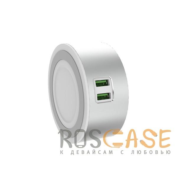Фотография Серебряный LDNIO A2208 | LED лампа с 2 USB разъемами для зарядки устройств