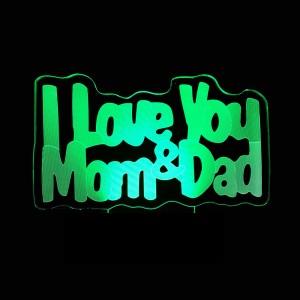 """Светодиодный 3D светильник-ночник с проекцией объемного изображения """"I love Mom&Dad;"""" для Подарки на Новый Год"""