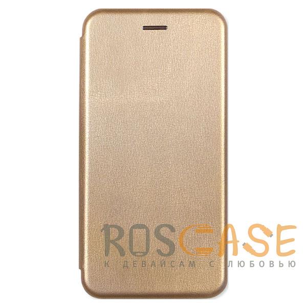 Фотография Золотой Open Color | Кожаный чехол-книжка для Meizu M6s с функцией подставки и магнитом