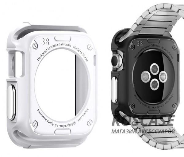 TPU чехол SGP Rugged Armor Series для Apple watch 38mm (+ пленка)Описание:производство компании SGP;совместим с устройством Apple watch с диагональю 38 мм;материал: термопластичный полиуретан;форм-фактор: чехол-накладка.Особенности:полная защита от внешних воздействий;отличная амортизация при любом ударе и падении;функция антискольжения;фиксация надежная;основа матовая;дизайн ультратонкий;пленка в комплекте.<br><br>Тип: Чехол<br>Бренд: SGP<br>Материал: TPU