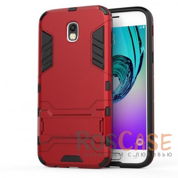 Ударопрочный чехол-подставка Transformer для Samsung J730 Galaxy J7 (2017) с мощной защитой корпуса (Красный / Dante Red)Описание:совместимость - Samsung J730 Galaxy J7 (2017);материалы - термополиуретан, поликарбонат;тип - накладка;функция подставки;защита от ударов, сколов, трещин;не скользит в руках;прочная конструкция;все необходимые функциональные вырезы.<br><br>Тип: Чехол<br>Бренд: Epik<br>Материал: Пластик