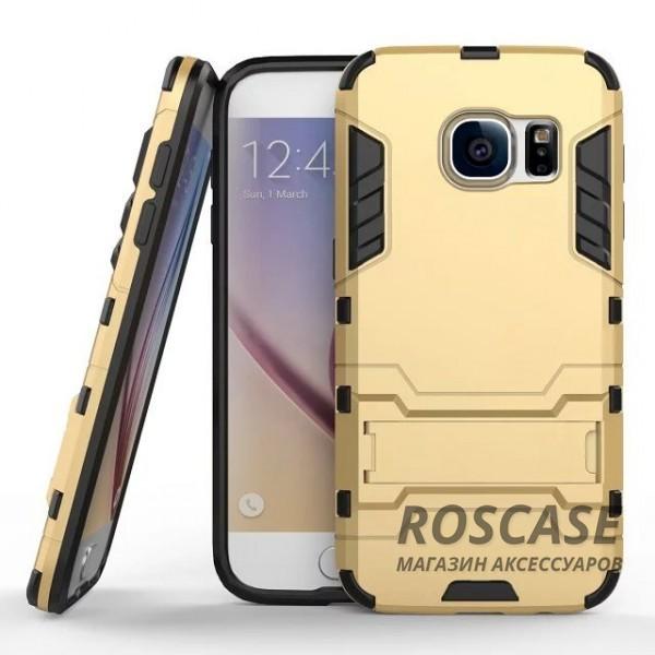 Ударопрочный чехол-подставка Transformer для Samsung G930F Galaxy S7 с мощной защитой корпуса (Золотой / Champagne Gold)Описание:подходит для Samsung G930F Galaxy S7;материалы: термополиуретан, поликарбонат;формат: накладка.&amp;nbsp;Особенности:функциональные вырезы;функция подставки;двойная степень защиты;защита от механических повреждений;не скользит в руках.<br><br>Тип: Чехол<br>Бренд: Epik<br>Материал: TPU
