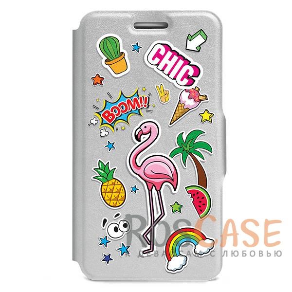 """Фото Универсальный яркий чехол-книжка со стикерами Gresso """"Эмоджи-фламинго"""" для смартфона 4.2-4.5 дюйма"""