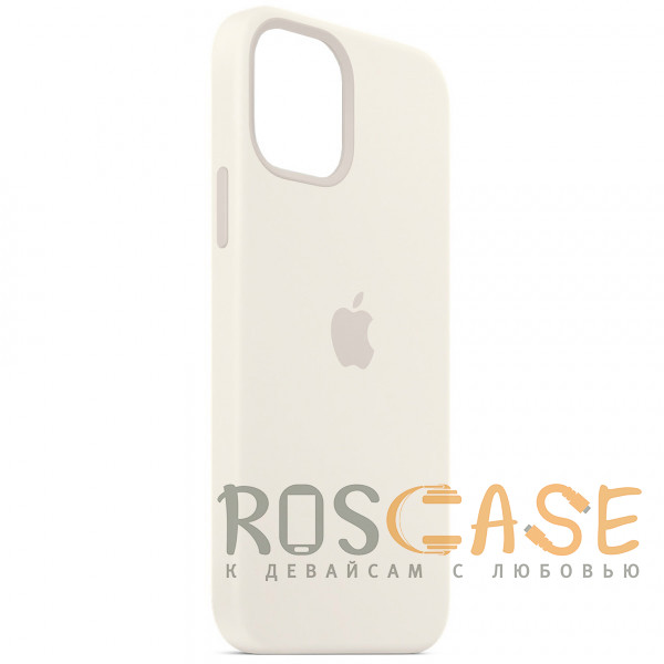Фотография Белый Силиконовый чехол Silicone Case с микрофиброй для iPhone 12 Pro Max
