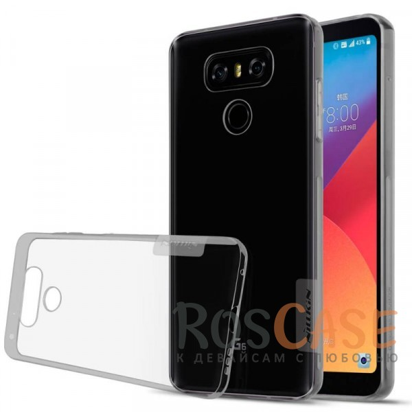 Мягкий прозрачный силиконовый чехол для LG G6 / G6 Plus H870 / H870DS (Серый (прозрачный))Описание:бренд:&amp;nbsp;Nillkin;совместимость: LG G6 / G6 Plus H870 / H870DS;материал: термополиуретан;тип: накладка;ультратонкий дизайн;прозрачный корпус;не скользит в руках;защищает от механических повреждений.<br><br>Тип: Чехол<br>Бренд: Nillkin<br>Материал: TPU