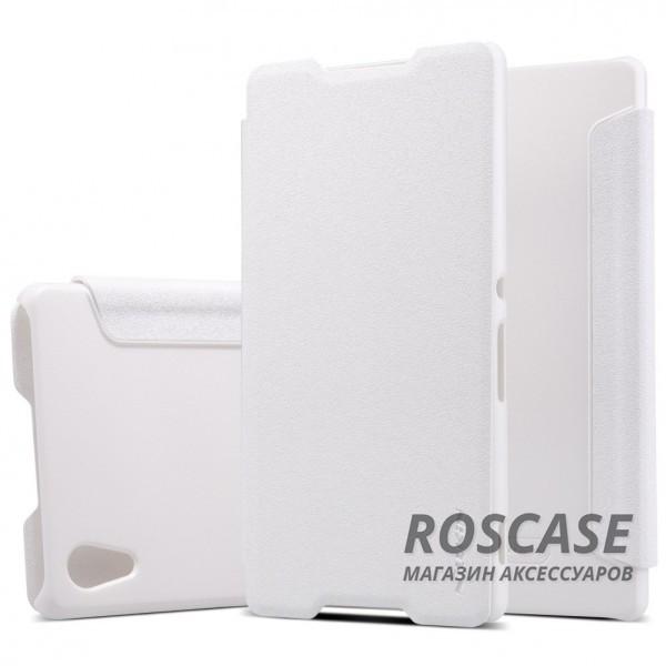 Кожаный чехол (книжка) Nillkin Sparkle Series для Sony Xperia Z3+/Xperia Z3+ Dual (Белый)Описание:бренд&amp;nbsp;Nillkin;совместимость: Sony Xperia Z3+/Xperia Z3+ Dual;материалы: искусственная кожа, поликарбонат;тип: чехол-книжка.Особенности:не заметны отпечатки пальцев;защита от механических повреждений;не теряет цвет;блестящая поверхность;надежная фиксация.<br><br>Тип: Чехол<br>Бренд: Nillkin<br>Материал: Искусственная кожа
