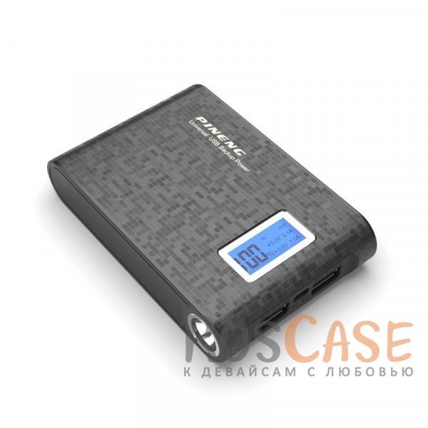Фото Черный Портативное зарядное устройство в противоударном обтекаемом корпусе с ЖК дисплеем и LED-фонариком 10000mAh (2 USB)