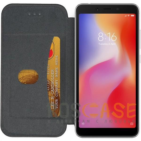 Фотография Темно-синий  Open Color 2 | Чехол-книжка на магните для Xiaomi Redmi 6 с подставкой и внутренним карманом