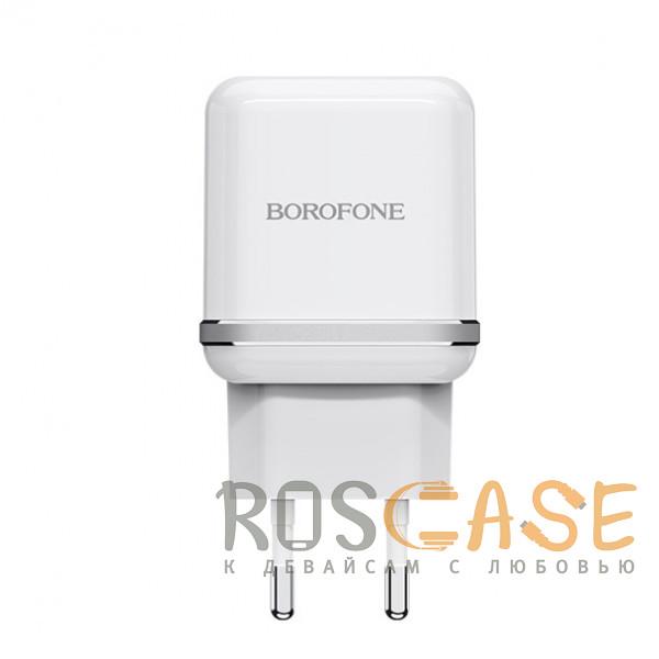 Фото Белый Borofone BA25A | Сетевое зарядное устройство для телефона 2USB / 2.4A