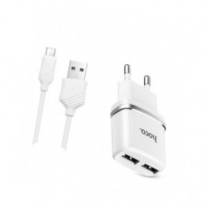 СЗУ HOCO C12 Dual USB Charger 2.4A (+кабель microUSB 1м) для Xiaomi Redmi Note 5A
