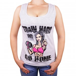 "Muscle Rabbit | Женская майка с принтом ""Train hard"""