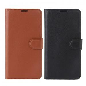 Гладкий кожаный чехол-бумажник на магнитной застежке с функцией подставки и внутренними карманами для Lenovo K6 Note / K6 Plus