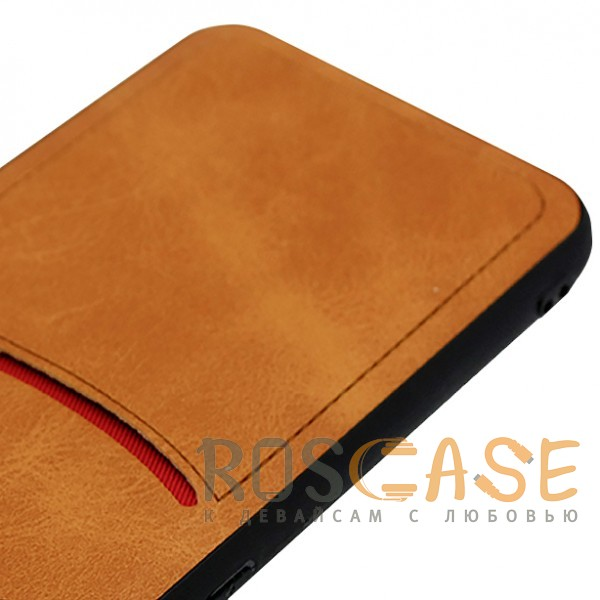 Фотография Светло-коричневый ILEVEL | Чехол с кожаным покрытием и с карманом-визитницей для Samsung Galaxy S9