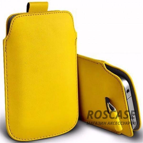 Кожаный чехол (футляр) для смартфона (140 x 75) (Желтый)Описание:производитель  -  Epik;совместимость: устройства с габаритами &amp;nbsp;140*75 мм;материал  -  искусственная кожа;форма  -  футляр.&amp;nbsp;Особенности:тонкий дизайн не увеличивает габариты;не скользит в руках;язычок для извлечения устройства;защищает от ударов и царапин;на нем не видны отпечатки пальцев;размер - &amp;nbsp;140 x 75 мм.<br><br>Тип: Чехол<br>Бренд: Epik<br>Материал: Искусственная кожа