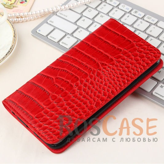 Стильный кожаный чехол-книжка с текстурой под кожу крокодила для Meizu M3 / M3 mini / M3s (Красный)<br><br>Тип: Чехол<br>Бренд: Epik<br>Материал: Искусственная кожа