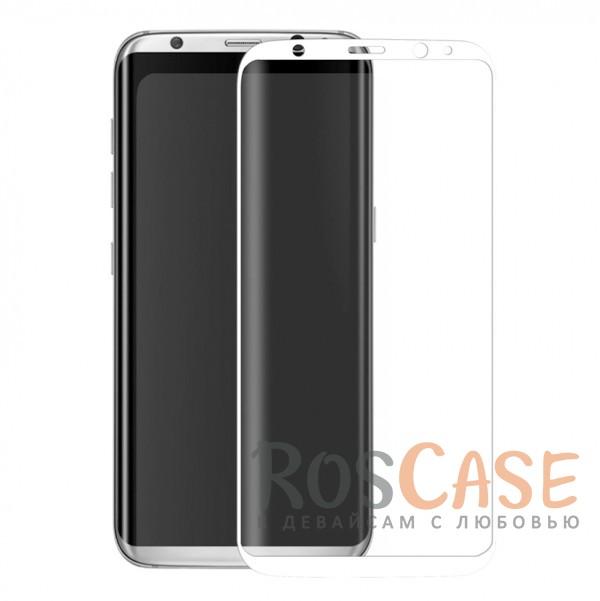 Фото Белый Защитное стекло 3D с цветной рамкой на весь экран для Samsung G950 Galaxy S8