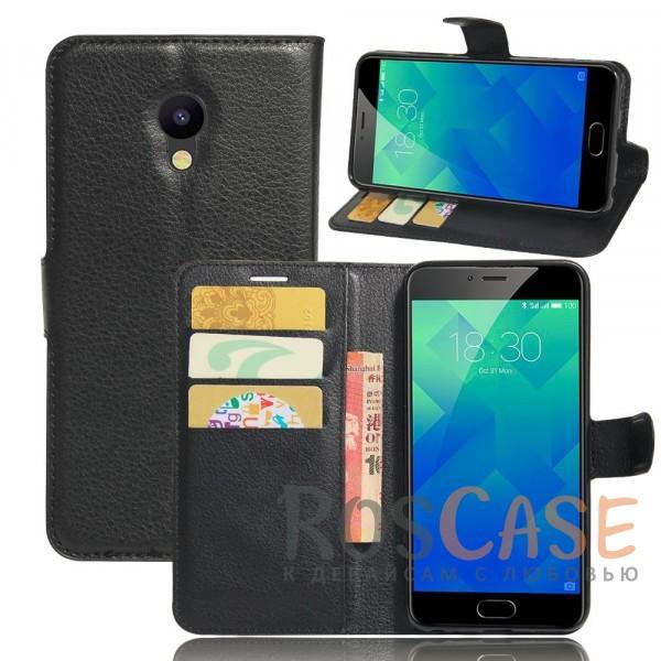 Гладкий кожаный чехол-бумажник на магнитной застежке Wallet с функцией подставки и внутренними карманами для Meizu M5 (Черный)Описание:производитель  - &amp;nbsp;Epik;совместим с Meizu M5;материалы  -  искусственная кожа, TPU;форма  -  чехол-книжка.&amp;nbsp;Особенности:фактурная поверхность;предусмотрены все функциональные вырезы;кармашки для визиток/кредитных карт/купюр;магнитная застежка;защита от механических повреждений;трансформируется в подставку.<br><br>Тип: Чехол<br>Бренд: Epik<br>Материал: Искусственная кожа