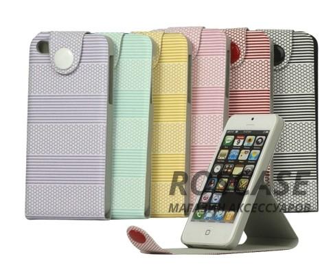 фото кожаный чехол-подставка (флип) на магнитной застежке для Apple iPhone 5/5S/5SE