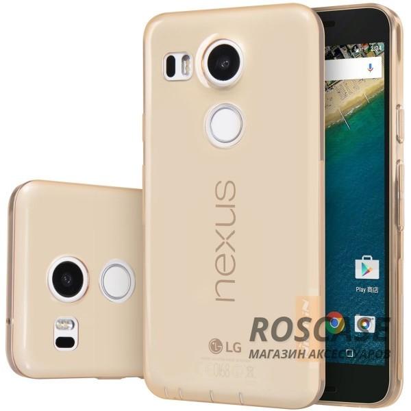 TPU чехол Nillkin Nature Series для LG Google Nexus 5x (Золотой (прозрачный))Описание:производитель  - &amp;nbsp;Nillkin;совместимость: LG Google Nexus 5x;материал  -  термополиуретан;форма  -  накладка.&amp;nbsp;Особенности:в наличии все вырезы;гладкая поверхность;не увеличивает габариты;защита от ударов и царапин;на накладке не видны &amp;laquo;пальчики&amp;raquo;.<br><br>Тип: Чехол<br>Бренд: Nillkin<br>Материал: TPU
