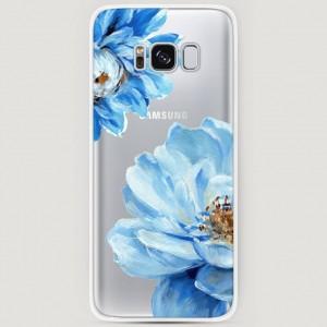 RosCase | Силиконовый чехол Голубые клематисы на Samsung G950 Galaxy S8