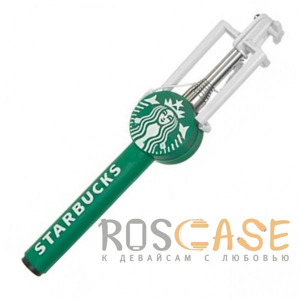 Фото Зеленый S014 | Телескопический монопод для селфи с лого и прорезиненной ручкой (кабель 3,5 mini jack)