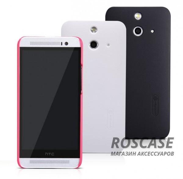 Чехол Nillkin Matte для HTC One / E8 (+ пленка)Описание:производитель  -  Nillkin;совместим с HTC One / E8;материал  -  пластик;форма  -  накладка.&amp;nbsp;Особенности:ребристая поверхность;матовая фактура;все вырезы соответствуют модели смартфона;легко очищается;тонкий дизайн не увеличивает габариты;защищает от механических повреждений;пленка в комплекте;не скользит в руках.<br><br>Тип: Чехол<br>Бренд: Nillkin<br>Материал: Поликарбонат