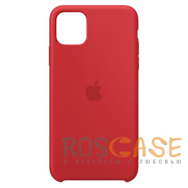 Фото Красный Силиконовый чехол Silicone Case с микрофиброй для iPhone 11 Pro