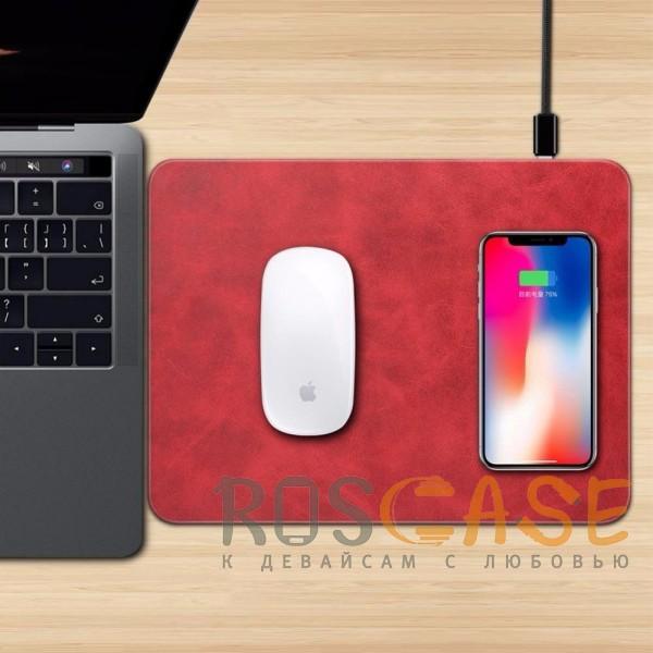 Фотография Красный Коврик с беспроводной зарядкой для мыши и телефона