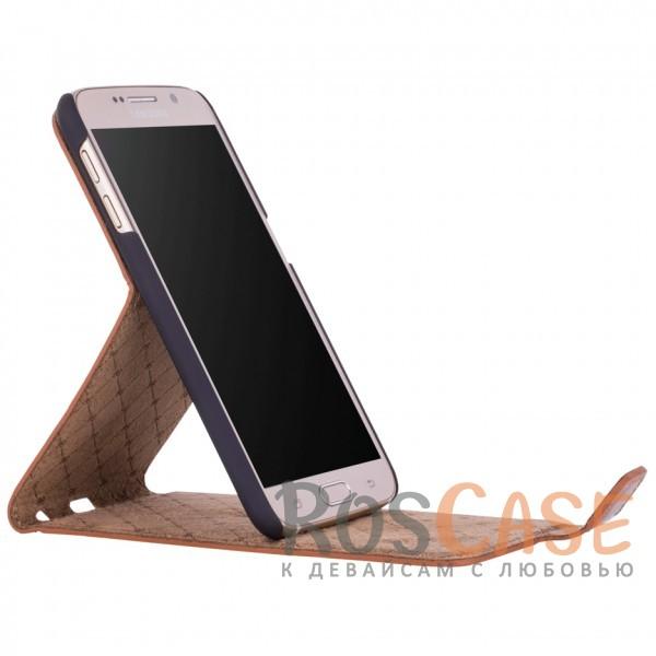 Изображение Вертикальный чехол-флип из натуральной кожи с функцией подставки и магнитной застежкой для Samsung Galaxy S6 (G920F)