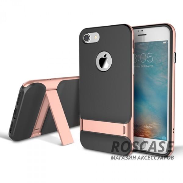 TPU+PC чехол Rock Royce Series с функцией подставки для Apple iPhone 7 plus (5.5) (Черный / Rose gold)Описание:изготовитель: компания Rock;совместимость: смартфоны Apple iPhone 7 plus (5.5);произведен из термопластичного полиуретана и качественного поликарбоната;тип крепления: накладка;поверхность: частично матовая, частично глянцевая.Особенности:защищает от повреждений при падениях;имеет двойную конструкцию;имеет функцию подставки;позиционируется как аксессуар с интересным нетривиальным дизайном.<br><br>Тип: Чехол<br>Бренд: ROCK<br>Материал: TPU