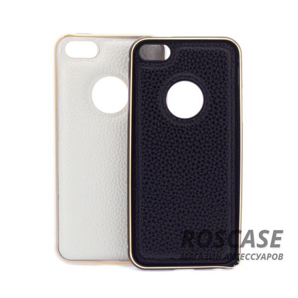 Изображение Модный металлический бампер с усиленной защитой краев и кожаной задней панелью для Apple iPhone 5/5S/SE