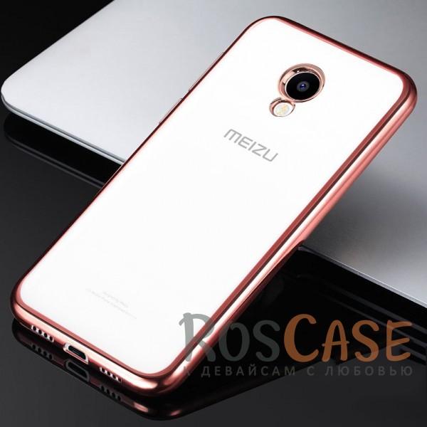 Фото Розовый Силиконовый чехол для Meizu M5 с глянцевой окантовкой
