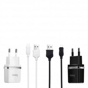 Зарядное устройство HOCO C12 2USB 2.4A + кабель Micro USB
