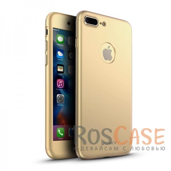 iPaky 360° | Комплект чехол + стекло для Apple iPhone 7 plus / 8 plus (5.5) (полная защита корпуса и экрана) (Золотой)Описание:производитель: iPaky;совместим с Apple iPhone 7 plus / 8 plus (5.5);материалы для изготовления: поликарбонат и каленое стекло;форм-фактор: накладка.Особенности:надежная защита: чехол, бампер, стекло;высокий уровень износостойкости и прочности;ультратонкий, не увеличивает визуально объем;легко фиксируется;легко очищается.<br><br>Тип: Чехол<br>Бренд: iPaky<br>Материал: Пластик