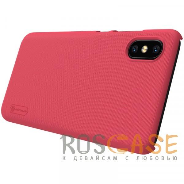 Изображение Красный Nillkin Super Frosted Shield | Матовый чехол БЕЗ отпечатка для Xiaomi Mi 8 Po / Mi 8 Explorer (+ пленка)