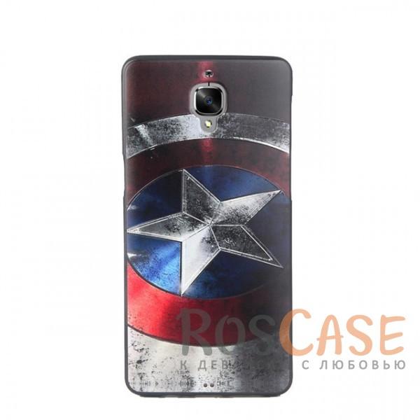 Силиконовая накладка с принтом для OnePlus 3 / OnePlus 3T (Captain America)<br><br>Тип: Чехол<br>Бренд: Epik<br>Материал: Силикон