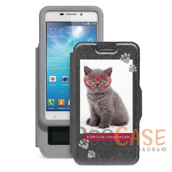 Gresso Пушистики-котенок в очках | Универсальный чехол-книжка с принтом для смартфона с диагональю 5.5-6.0 дюймаОписание:совместимость -&amp;nbsp;смартфоны с диагональю&amp;nbsp;5,5-6,0 дюйма;материал - искусственная кожа;тип - чехол-книжка;предусмотрены все необходимые вырезы;защищает девайс со всех сторон;оригинальный принт;ВНИМАНИЕ:&amp;nbsp;убедитесь, что ваша модель устройства находится в пределах максимального размера чехла.&amp;nbsp;Размеры чехла: 152*82 мм.<br><br>Тип: Чехол<br>Бренд: Gresso<br>Материал: Искусственная кожа