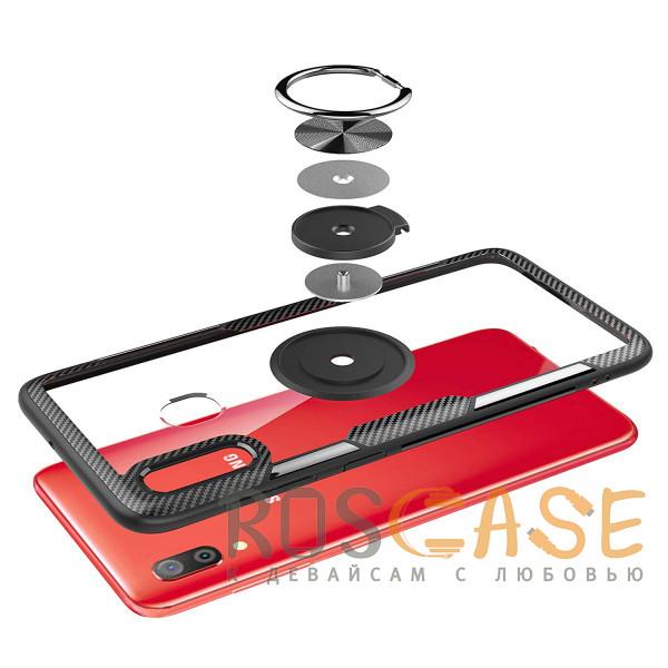 Изображение Бесцветный / Черный TPU+PC чехол Deen CrystalRing под магнитный держатель для Samsung Galaxy A20 / A30